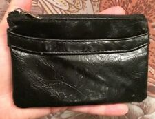 VINTAGE Crinkled Faux Lambskin Black Leather Wallet Coinpurse GOTH PUNK 1980's