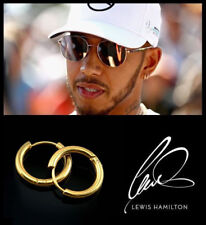 Men's/Boy's: Lewis Hamilton, One Pair, 9ct Gold Plated 8mm Hoop Earrings