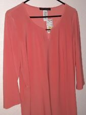 Women's size L NWT Peach Knit Blouse 3/4 sleeve by Coco Bianco d57