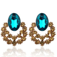 Fashion Lady Flower Gold crystal rhinestone Gold plated Insect Earrings Jewelry
