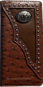 Longhorn Mens Wallet Western Bifold Check Book Style W011-14 Ostrich Brown