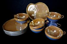Vintage Peach Lustre Snack Set 12 Pc 6 China Cups Plates Blue Trim 1920s Germany