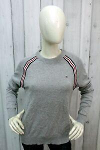 Maglione Tommy Hilfiger Donna Taglia M Grigio Cotone Sweater Pullover Woman Logo