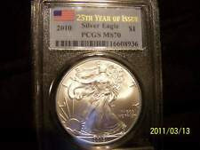 2010 **AMERICAN SILVER EAGLES,**1**MS70 GRADED BY PCGS