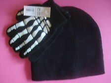 BOYS WINTER SKELETON HAND HAT AND GLOVES SET STRETCH NEW