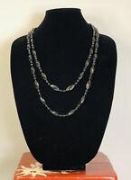 Vintage Necklace Long Black Plastic Bead Flapper Gatsby Fun Retro Costume Kitsch
