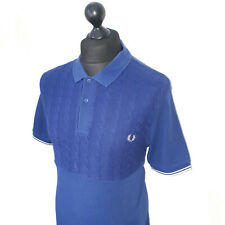 Men's FRED PERRY London Premium Vibrant Blue Double Knit Polo Shirt Size L *VGC*