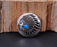 10PC 30MM Western Cowboy INDIAN CHIEF TURQUOISE BLING SLIVER SCREW BACK CONCHOS