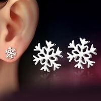 Women 925 Sterling Silver Snowflake Snow Flower Ear Stud Earrings Jewelry Gifts
