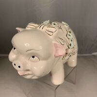 Vintage Ceramic Pig Coin Piggy Bank Asian Floral Pink Blue Gold Mid Century Cute