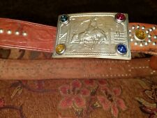 VINTAGE ANTIQUE TOOLED LEATHER WESTERN BELT Cowboy Western Rider