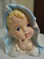 Vintage 1963 Relpo Baby Head Nursery Planter Vase Ceramic Blue Samson