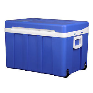 50L Mini Kühlschrank Tragbare Kühlbox mit Kühlt und Wärmt-Funktion für Auto Blau