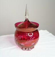 Vintage Etched Dark Pink Crystal Candy Dish with Lid - Tall Finial - Footed