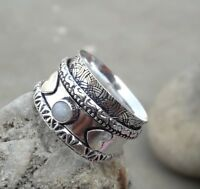 Rainbow Moonstone 925 Sterling Silver Meditation Statement Ring Spinner Ring sd9