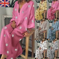 Fashion Women Polka Dot Loose Sleeve Maxi Dress Sexy V Neck Boho Beach Dress
