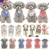 Dog Cat Harness Vest Adjustable Puppy Leash Set For Small Medium Dogs Coat USA