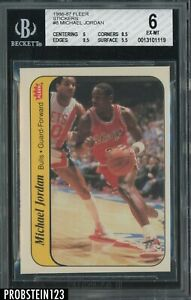 "1986-87 Fleer Sticker Basketball #8 Michael Jordan RC Rookie HOF BGS 6 "" SHARP """