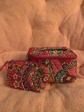 Vera Bradley Pink Swirls Travel Cosmetic & Mirror Cosmetic Bags