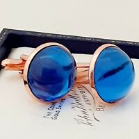 Vintage 1950s Royal Blue Glass - Large Round Rose Goldtone Cufflinks