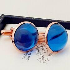 Vintage 1950s Royal Blue Glass - Large Round Rose Goldtone Cufflinks