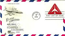 U.S. 1968 RED JET TRIANGLE 10c Airmail Stationary #UC40 on ArtCraft FDC Cachet