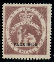 ST. VINCENT 29fac, 5sh rose UNUSED W/FACSIMILE OVPT, regular issue is scarce