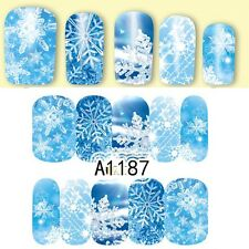 Full Wrap Nail Art Water Decals Stickers Christmas ICE BLUE Snowflakes (A1187)