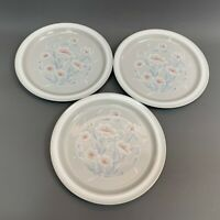 Noritake Stoneware Iceflower Ice Flower Gray White Dinner Plates Floral Lot of 3