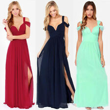 Women Chiffon V Neck Long Maxi Gown Evening Party Cocktail Wedding Formal Dress
