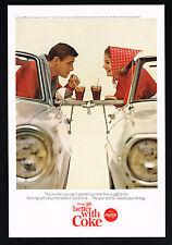 1965 Coke Coca Cola Drive In Restaurant Convertible Cars Photo Vintage Print Ad