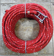 """7/16"""" x 120 ft. Dacron/Spectra Halyard,Spliced in 5/16"""" Hdbrd Shack, Ruby Red/wh"""