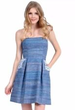 PHOEBE COUTURE Strapless Blue Striped Silk Blend Strapless Embroidered Dress 0