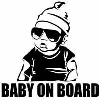 NUOVO adesivo sticker BABY ON BOARD bambino a bordo auto styling tuning NERO