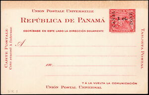 Canal Zone - 1907 - 1 Cent on 2 Cents Carmine Surcharged Postal Card # UX1 Mint