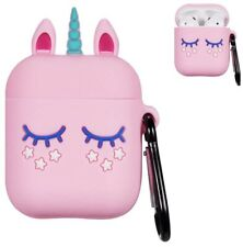 Pink Unicorn Airpod Case for Apple Airpods Cute 3D Soft  Silicone with KeyChain