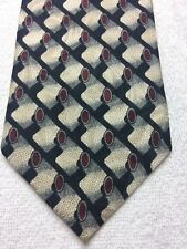 PIERRE BALMAIN MENS TIE BLACK WHITE BURGUNDY 4 X 58