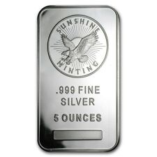 Lingot SUNSHINE MINT 5 Onces argent pur 999 / SUNSHINE MINT 5 Oz Fine Silver Bar