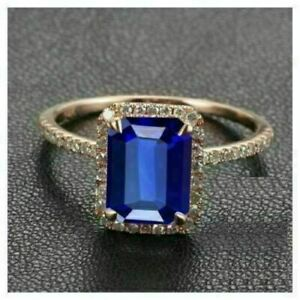 14K Rose Gold Finish 2.56Ct Emerald Cut Blue Sapphire Halo Style Engagement Ring