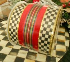 """MACKENZIE CHILDS HIGHLAND RIBBON, 4"""" WIRED, PURCHASE BY THE YARD"""
