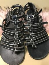 Chedive Black Leather Sandals Size 7 Woman