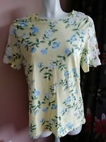 Dorothy Perkins Yellow Short Sleeve Top With Floral Design Size 14