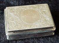 Hallmarked silver vintage Art Deco antique snuff box