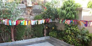 Vintage Indian Silk Sari Fabric Bunting Boho Decor 5 Meter Garland Outdoor Decor