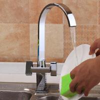Square Double Lever Mono Kitchen Sink Mixer Tap Swivel Spout Chrome Brass Faucet