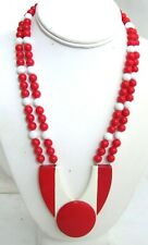 Red and White Vintage Midcentury Mod Bead Necklace w/ Large Geometric Pendant