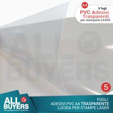 5 fogli - Carta Adesiva PVC Fogli in vinile Trasparenti per stampanti laser