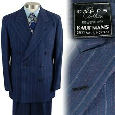Vintage 1940s Capps Blue Striped Double Breasted Suit 39 30x31