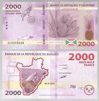 BURUNDI 2000 2,000 FRANCS ( 2018 / 2019) P-52 UNC BANK NOTE