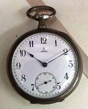 Antico OMEGA GRAND PRIX PARIS 1900 Argento 800 FUNZIONANTE orologio da taschino